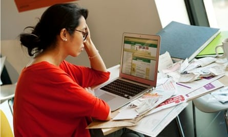 woman with computer and documents