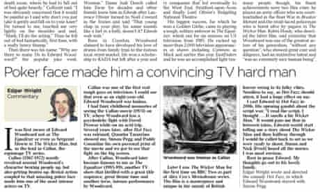 How the Times reprinted Edgar Wright's blog tribute to Edward Woodward