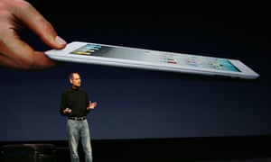 Apple CEO Steve Jobs at the launch of iPad 2 in March 2011