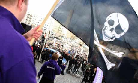 Supporters of file sharing website The Pirate Bay