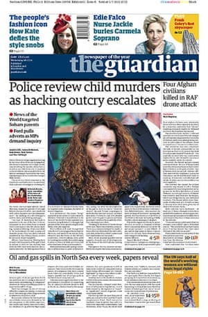 Phone hacking front pages: The Guardian