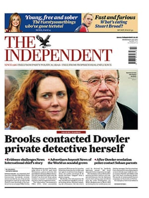 Phone hacking front pages: The Independent