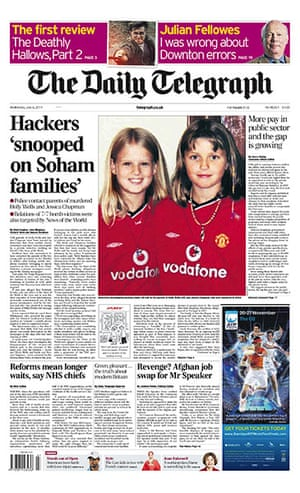 Phone hacking front pages: The Daily Telegraph