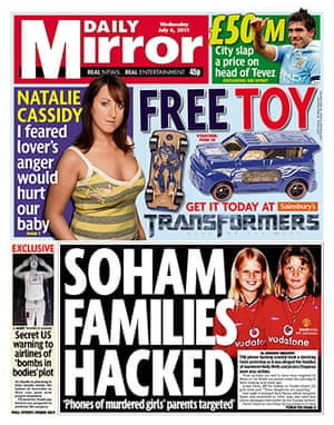 Phone hacking front pages: Daily Mirror