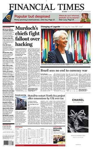 Phone hacking front pages: Financial Times