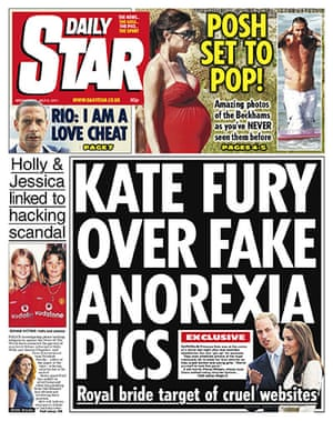 Phone hacking front pages: Daily Star