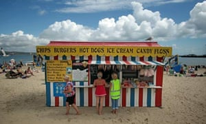 candyfloss and hotdog stall on Weymouth beach