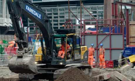 Workers building the new Crossrail transport link in London
