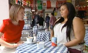 Shanene Thorpe talking to Allegra Stratton