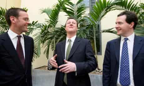James Murdoch, David Camerona and George Osborne
