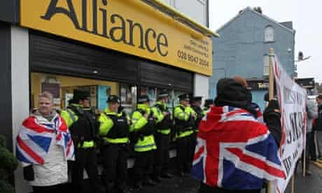 Loyalist protesters Belfast