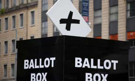 Mocked up ballot box