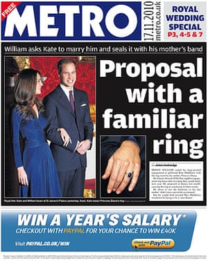 Royal front pages: Metro