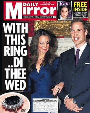 Royal front pages: Daily Mirror