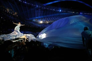 Q 300th issue: Björk performing on stage at the opening of the 2004 Athens Olympics