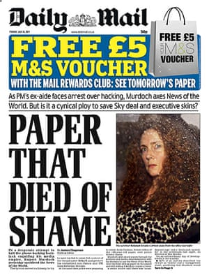 NOTW closure front pages: Daily Mail