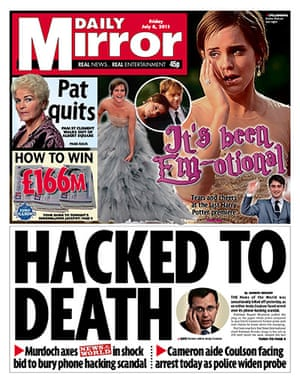 NOTW closure front pages: Daily Mirror