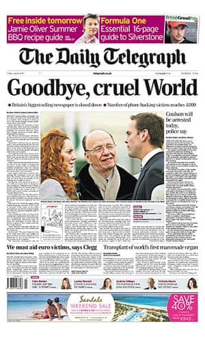 NOTW closure front pages: Daily Telegraph
