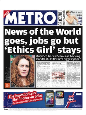 NOTW closure front pages: Metro