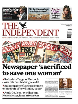 NOTW closure front pages: The Independent