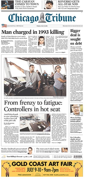 NOTW closure front pages: Chicago Tribune