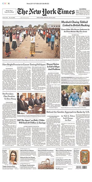 NOTW closure front pages: New York Times