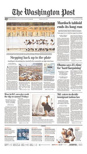 NOTW closure front pages: Washington Post