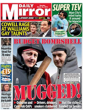 budgetfrontpages: Daily Mirror frontpage