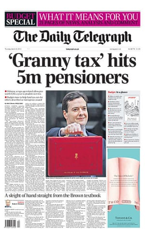 budgetfrontpages: Daily Telegraph front page