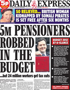 budgetfrontpages: Daily Express front page
