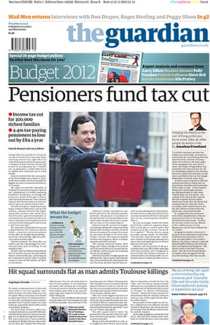 budgetfrontpages: Guardian front page