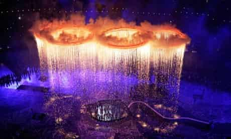 Olympic rings light up during opening ceremony, London 2012