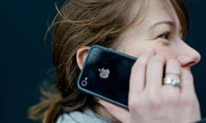 Woman using Apple iPhone