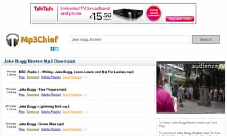 TalkTalk advertising on pirate site mp3chief