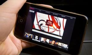 BBC iPlayer website viewed on an iPhone