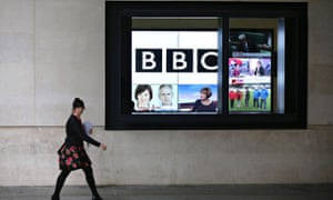 BBC television screen outside Broadcasting House