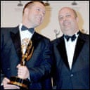 Matthew Barrett, right, and Paul Wilmshurst accept the Emmy documentary award for Hiroshima