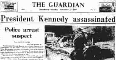 Guardian front page - Kennedy assassinated