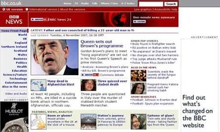 BBC website - with ads