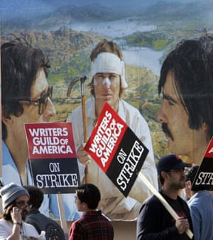 Writers Guild of America strike, picketers march past 20th Century Fox studio in LA