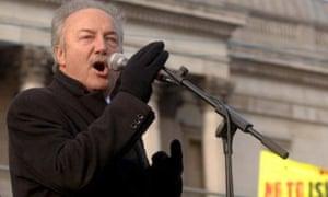 George Galloway addresses anti-war protesters inTrafalgar Square
