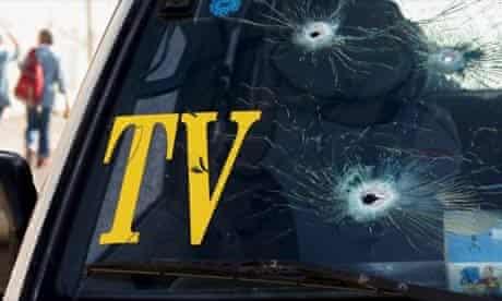 Bullet-damaged windscreen in Nablus, West Bank