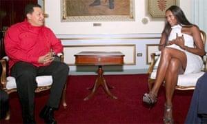 British model Naomi Campbell talks with Venezuelan president Hugo Chavez