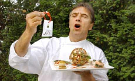 Raymond Blanc with the world's most expensive salad. Photograph: Linda Nylind