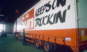 Sun lorry at Wapping. Photograph: Rex Features