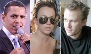 Montage of Barack Obama, Britney Spears and Heath Ledger