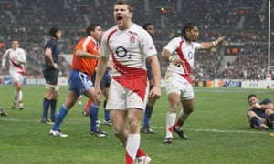 Richard Wigglesworth celebrates his try against France