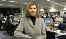 Jo Burgin: pictured in the ITN newsroom in 2002. Photograph: Graham Turner
