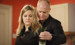 EastEnders - Max examines a wine bottle into which Tania has crushed pills