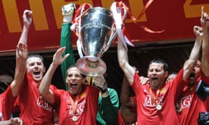 Manchester United celebrate winning the Champions League 2008